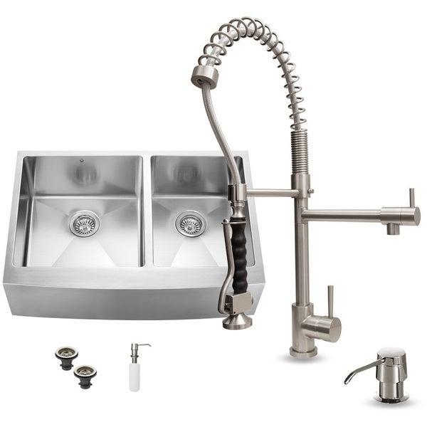 Vigo Farmhouse Stainless Steel Kitchen Sink, Faucet, and Dispenser