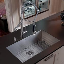 Vigo Undermount Stainless Steel Kitchen Sink, Faucet Grid and Dispenser