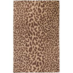 Hand-tufted Tan Leopard Whimsy Animal Print Wool Rug (12' x 15')