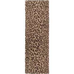 Hand-tufted Brown Leopard Whimsy Animal Print Wool Rug (3' x 12')