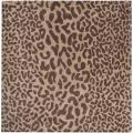 Hand-tufted Brown Leopard Whimsy Animal Print Wool Rug (6' Square)