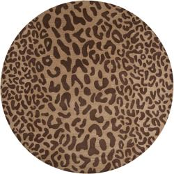 Hand-tufted Brown Leopard Whimsy Animal Print Wool Rug (9'9 Round)