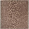 Hand-tufted Tan Leopard Whimsy Animal Print Wool Rug (9'9 Square)