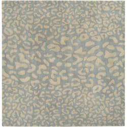 Hand-tufted Pale Blue Leopard Whimsy Animal Print Wool Rug (9'9 Square)