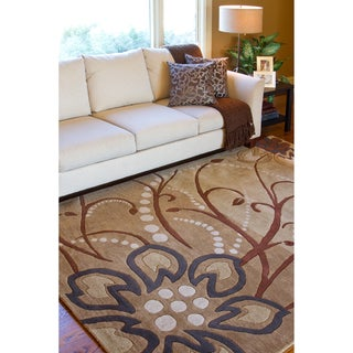 Hand-tufted Whimsy Beige Floral Wool Rug (9' x 12')