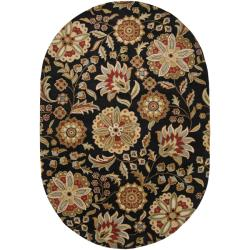 Hand-tufted Whimsy Black Wool Rug (6' x 9' Oval)