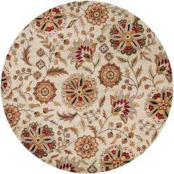 Hand-tufted Whimsy Beige Floral Wool Rug (4' Round)