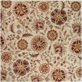 Hand-tufted Whimsy Ivory Floral Wool Rug (4' Square)