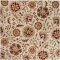 Hand-tufted Whimsy Beige Floral Wool Rug (4' Square)