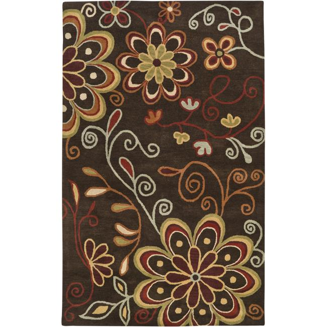 Hand-tufted Whimsy Chocolate Wool Rug (10' x 14')