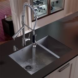 Vigo Undermount Stainless-Steel Kitchen Sink, Faucet and Dispenser (Mounting Hardware Included)