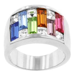 Kate Bissett Silvertone Multi-colored Cubic Zirconia Cocktail Ring