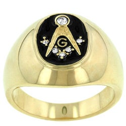 Kate Bissett Brass Men's Onyx and Cubic Zirconia Masonic Ring