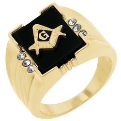 Kate Bissett Goldtone Men's Created Onyx and Crystal Masonic Emblem Ring