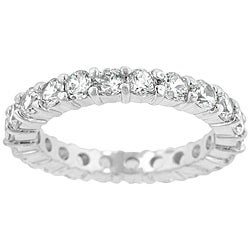Kate Bissett Sterling Silver Stackable Cubic Zirconia Eternity Band
