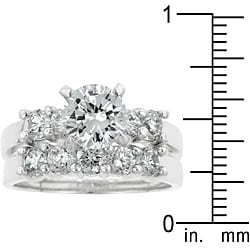 Kate Bissett Silvertone Brass Round-cut Cubic Zirconia Wedding Ring Set
