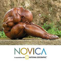 Wood 'Abstract Yoga' Sculpture (Indonesia)