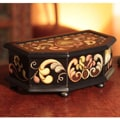 Reverse-painted Glass 'Colonial Heart' Jewelry Box (Peru)