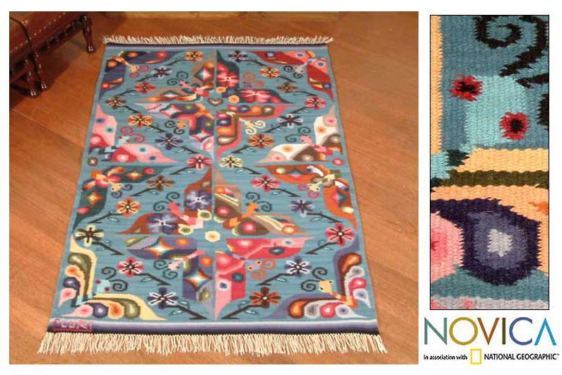 Peruvian Handwoven 'Garden of Butterflies' Blue Wool Rug (4' x 5')