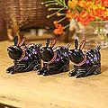 Set of 3 Lacquered Wood 'Violet Bunnies' Boxes (Thailand)