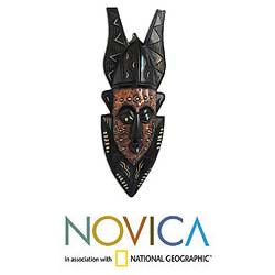 Handcrafted Wood 'Forgiveness' African Tribal Mask (Ghana)