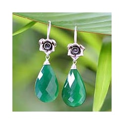 Silver 'Roses' Green Chalcedony Flower Earrings (Thailand)