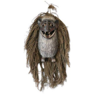 Wood and Jute 'Monkey Antics' African Tribal Mask (Ghana)