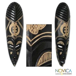Handcrafted Wood 'God Is My Guide' African Mask (Ghana)