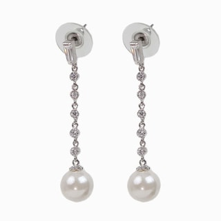 NEXTE Jewelry Silvertone Faux Pearl and Clear Cubic Zirconia Dangle Earrings