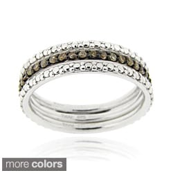 DB Designs Silver 2/5ct TDW Black or Brown Diamond Stackable Ring Set
