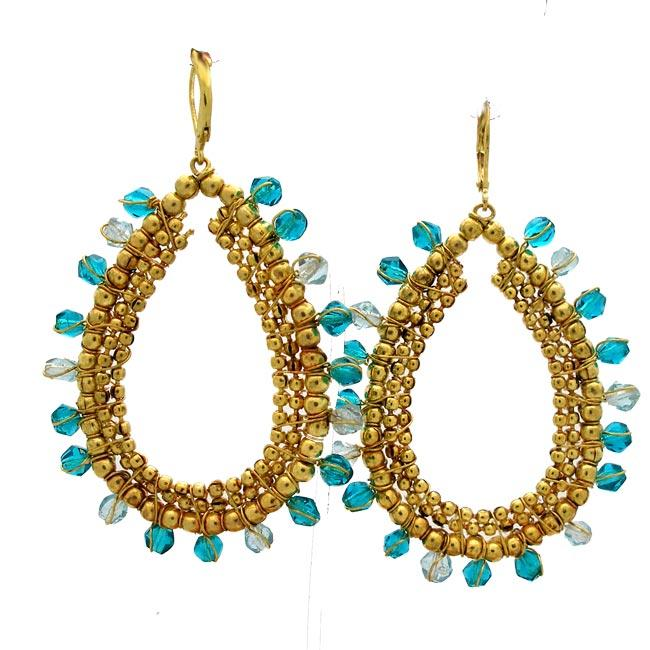 Brass and Teal Glass Beaded Earrings (India)
