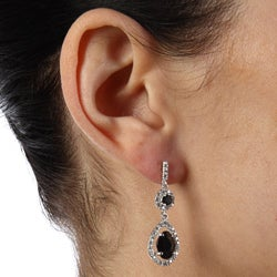 La Preciosa Sterling Silver Black and White Cubic Zirconia Teardrop Earrings