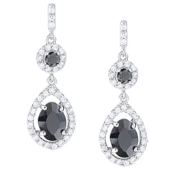 La Preciosa Sterling Silver Black and White Cubic Zirconia Teardrop Earrings