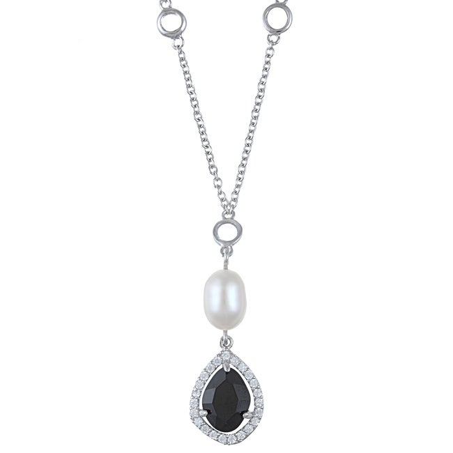 La Preciosa Sterling Silver Pearl and Cubic Zirconia Necklace