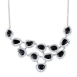 La Preciosa Sterling Silver Black and White Cubic Zirconia Bib Necklace
