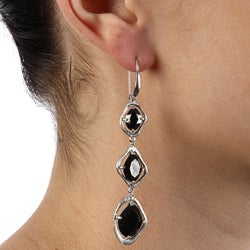 La Preciosa Sterling Silver Dangling Black CZ Earrings