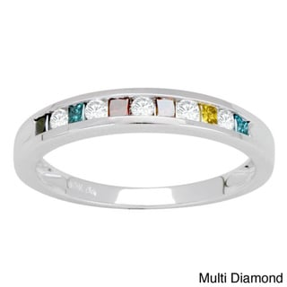 10k White Gold 1/4ct TDW Multi and Yellow Diamond Band (H-I, I3)