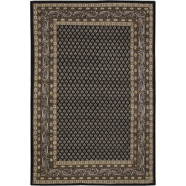 Hand-knotted Mandara Black New Zealand Wool Rug (7'9 x 10'6)