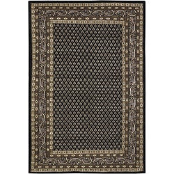 Hand-knotted Mandara Black New Zealand Wool Rug (7'9 x 10'6)