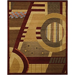 Hand-knotted Burgundy Mandara New Zealand Wool Rug (9' x 12')