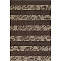 Hand-tufted Brown Floral Mandara Rug (5' x 7'6)