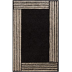 Hand-tufted Geometric Black Mandara Rug (7'9 x 10'6)