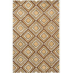 Hand-tufted Geometric Gold Mandara Rug (7'9 x 10'6)