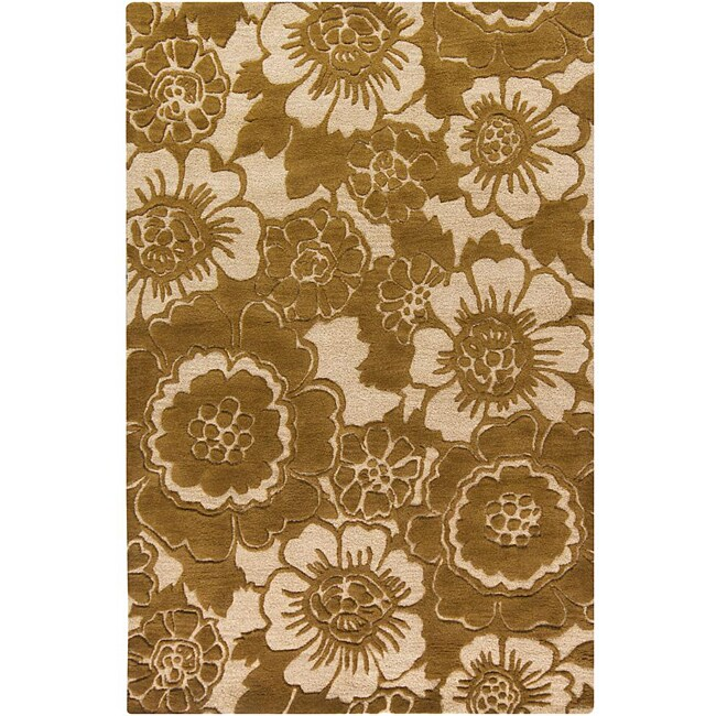 Hand-tufted Mandara Floral Gold New Zealand Wool Rug (5' x 7'6)