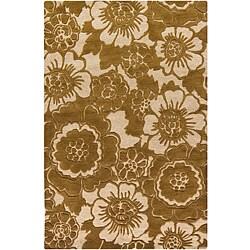 Hand-tufted Mandara Floral Gold New Zealand Wool Rug (5' x 7'6)