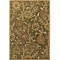 Hand-tufted Mandara Floral Green New Zealand Wool Rug (5' x 7'6)