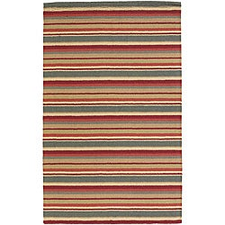 Hand-Tufted Mandara New Zealand Wool Striped Rug (7' x 10')