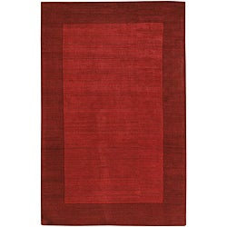 Hand-tufted Mandara  Red New Zealand Wool Rug (7' x 10')