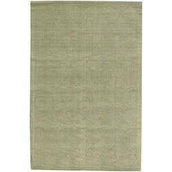 Hand-Tufted Contemporary Mandara Green New Zealand Wool Rug (7' x 10')