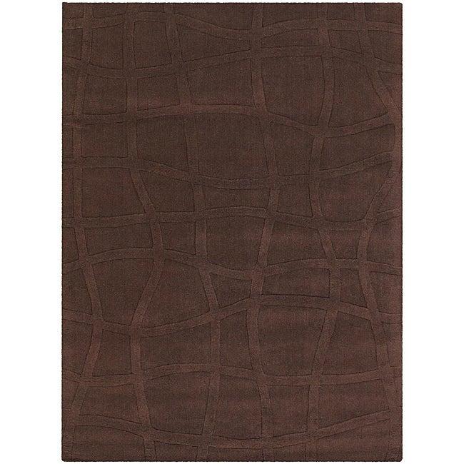 Hand-Tufted Brown Mandara New Zealand Wool Rug (5' x 7')